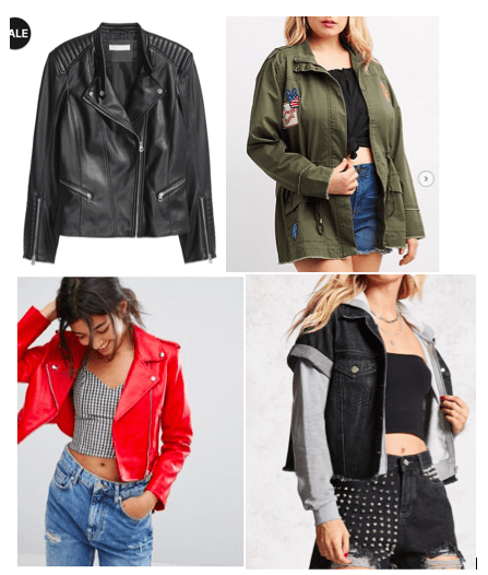 How to be edgy with your style: Four jackets, either faux leather or cloth military style