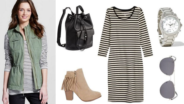 How to wear a utility/military vest with a striped dress, suede ankle boots, a backpack, and cute accessories