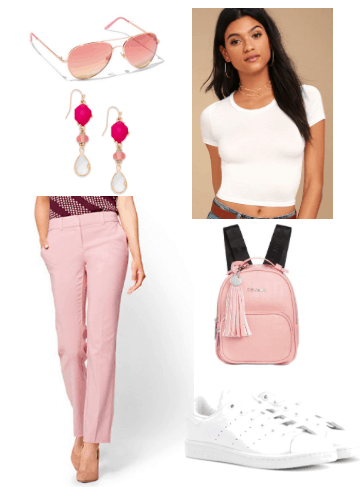 How to wear millennial pink to class: Pink pants, white cropped tee, pink earrings, millennial pink backpack