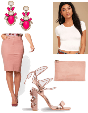 How to style millennial pink for a night out: Outfit idea with pink pencil skirt, hot pink statement earrings, cropped white tee shirt, millennial pink clutch, jeweled lace up heels