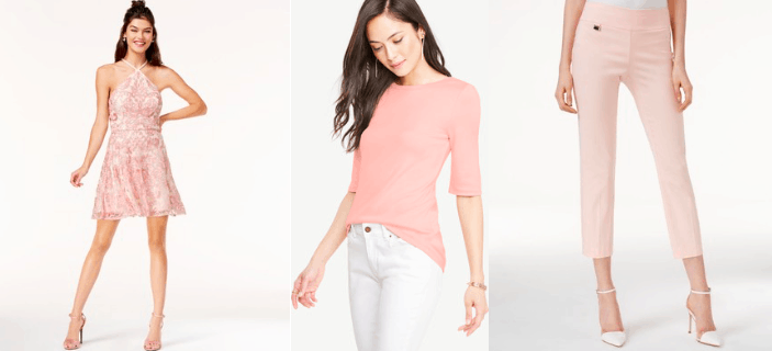 Millennial pink fashion trend: Dress, long sleeve tee, pants