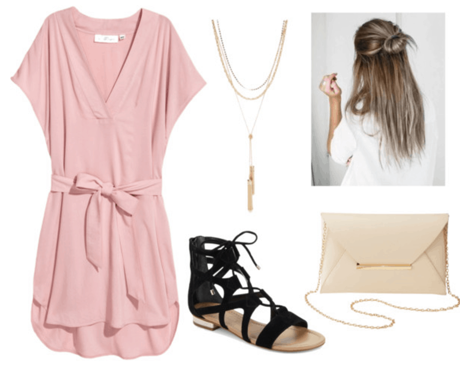 How to wear millennial pink: Outfit idea with pink dress, necklace, half bun, black sandals