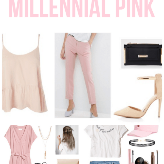 Millennial pink fashion: 3 ways to wear millennial pink with outfit ideas including pants, tanks, shoes, dresses, and hats in this blush pink shade