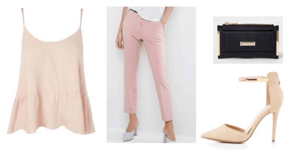 How to wear millennial pink: Outfit idea with nude top, pink trousers, nude heels, black bag