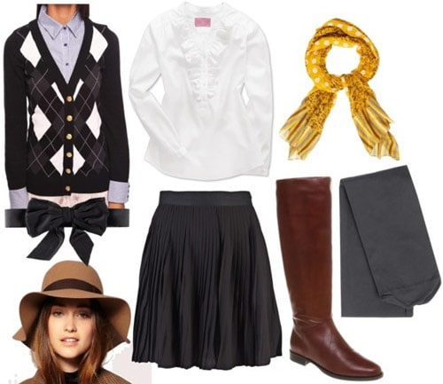 Milly by Michelle Smith outfit 1: Patterned cardigan, full knee-length skirt, button-down shirt, boots, hat
