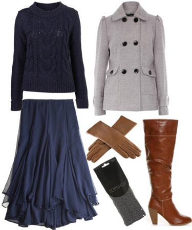 Milly by Michelle Smith outfit 3: Full navy skirt, double breasted grey pea coat, knee-high boots