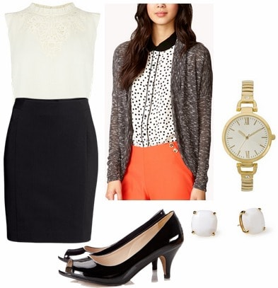 Milly pre fall 2013 inspired outfit pencil skirt, lace blouse, open weave cardigan