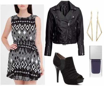 Milly pre fall 2013 inspired outfit print dress, leather jacket, ankle booties