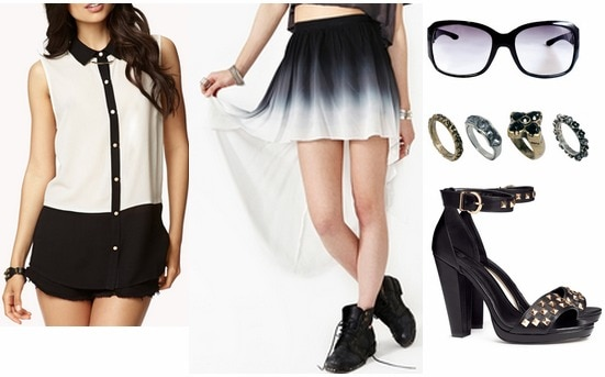 Milly pre fall 2013 inspired outfit sleeveless blouse, dip dye skirt, stud sandals
