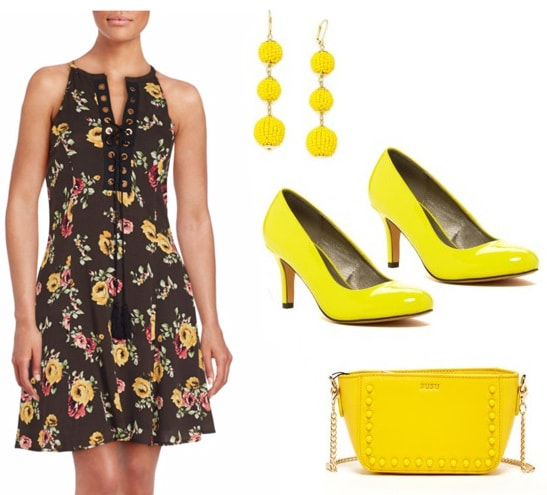 Best fictional female role models for college women: Mindy Lahiri from The Mindy Project. Outfit inspired by Mindy with floral a-line dress, yellow earrings, yellow patent pumps, yellow chain strap bag with studs