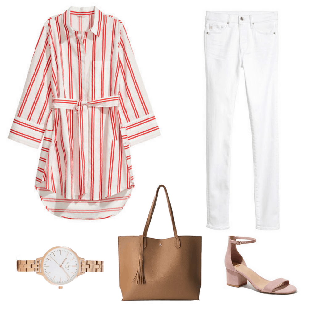 H&M's striped shirt dress and white skinny jeans won't look out of place in a capsule wardrobe. Add a chunky gold watch, minimalist clean-cut leather tote, and pink strappy low heels for a well-balanced and elegant look.