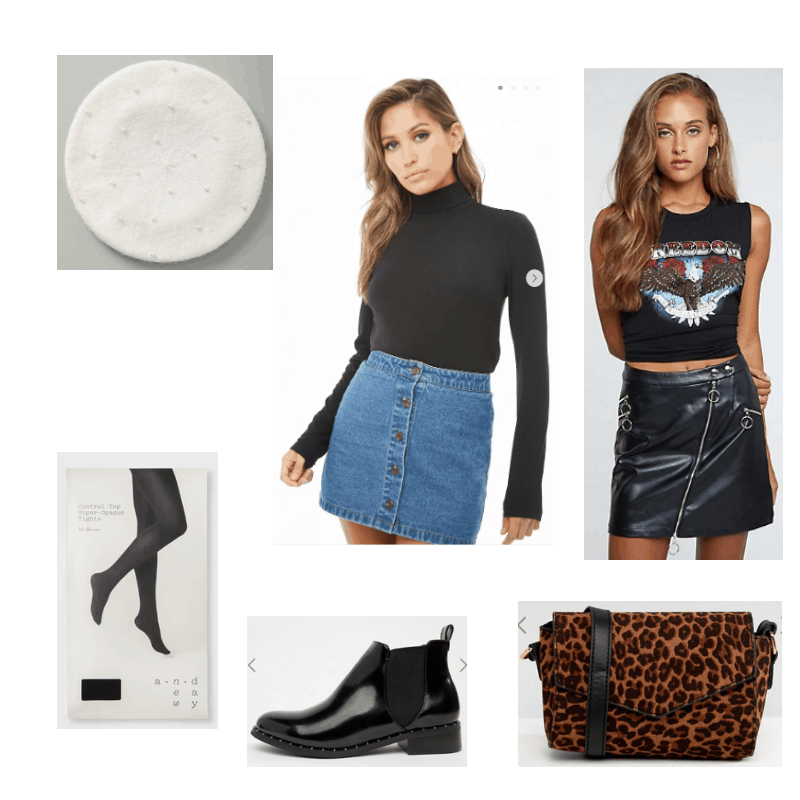 Outfit with black turtleneck, leather skirt, booties, tights, white beret, and leopard crossbody bag