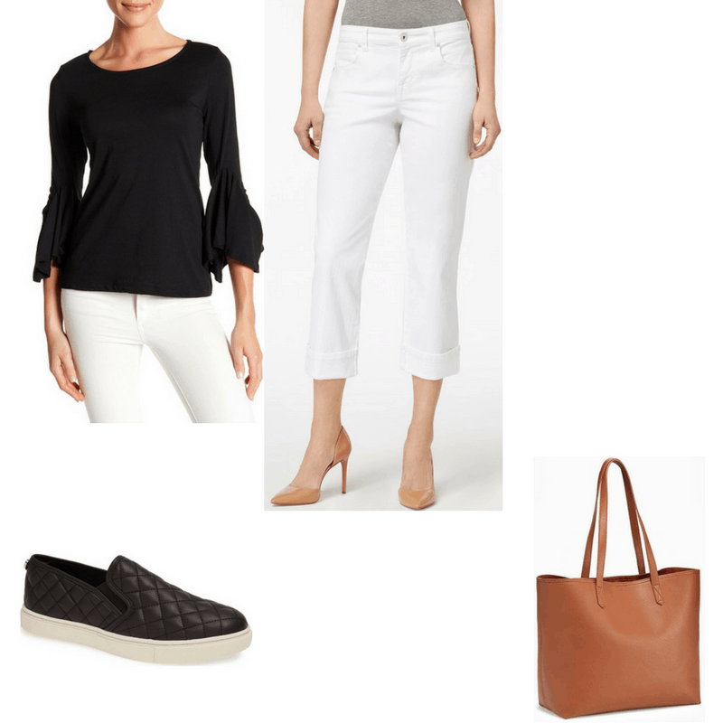 Minimalist finals outfit with black top, white jeans, black shoes, and brown bag