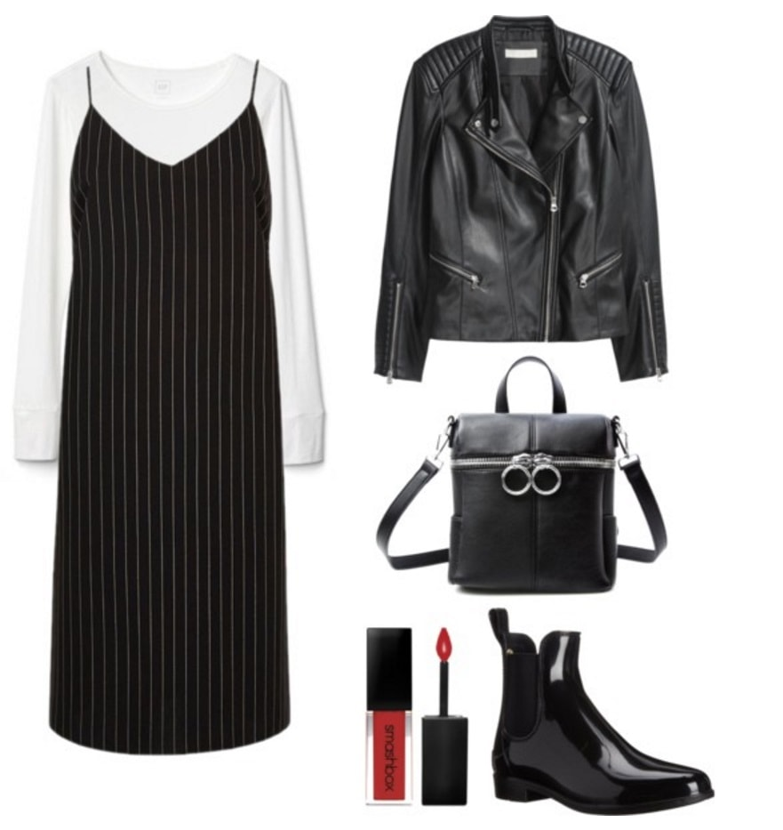 Slip dress, white tee, leather jacket.