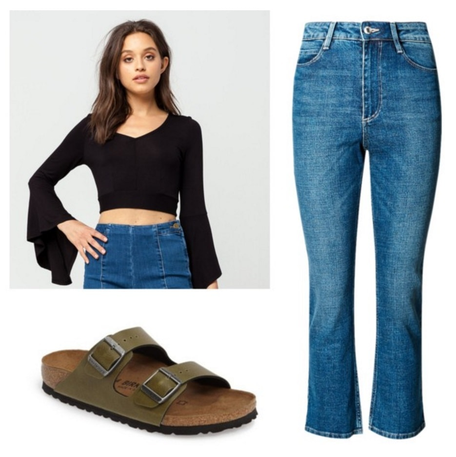 Bell sleeve top, cropped flare jeans, Birkenstocks.