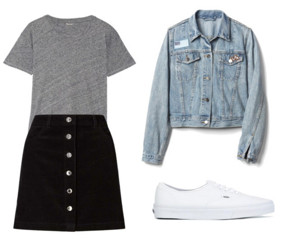 T-shirt, skirt, denim jacket, Vans