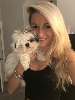 Minnie and I cuddling