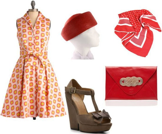 Fashion inspired by Minny Jackson from The Help: Patterned a-line dress, wedge heels, '60s hat, red clutch, scarf