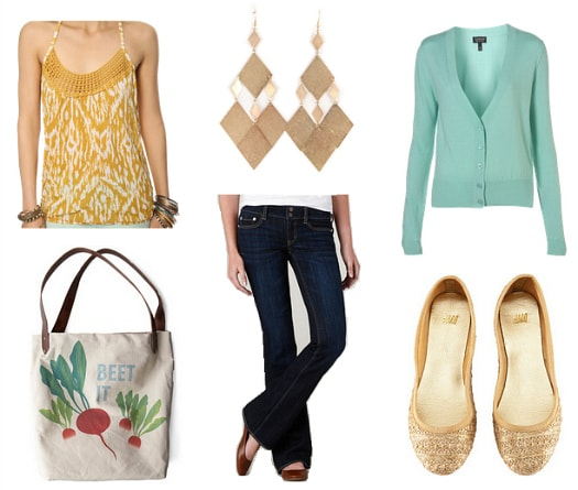mint and mustard outfit 1