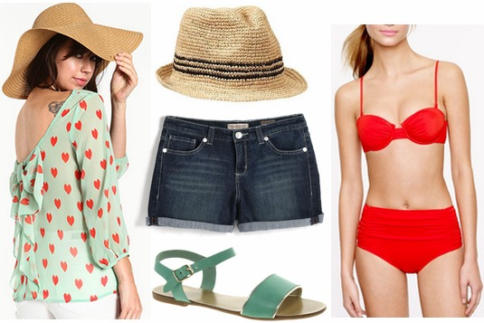 Mint and red printed blouse, denim shorts, red bikini