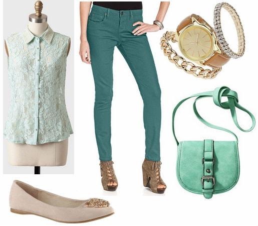 Mint blouse, skinny jeans, flats