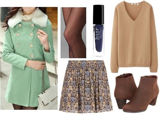 Mint coat outfit