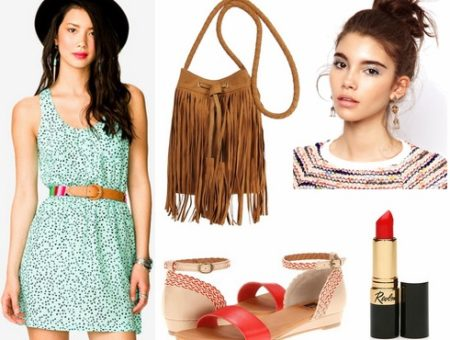 Mint dress, red sandals, fringe bag