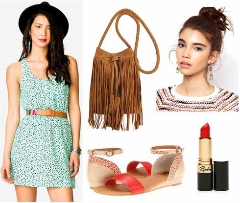 Mint dress, red sandals, fringe bag