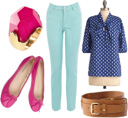How to wear mint colored jeans for a day of classes with a blue blouse, brown belt, and hot pink flats