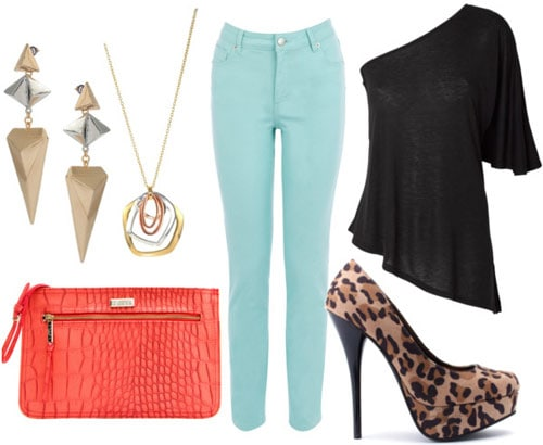 How to wear mint colored jeans for a night out with a black off-shoulder top, leopard heels, an orange clutch, and statement jewelry