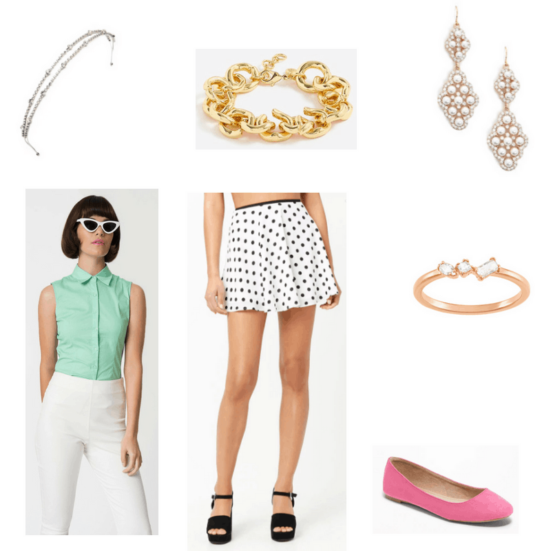 Outfit with mint blouse, polka dot skirt, rose gold ring, chain bracelet, drop earrings, embellished headband, and fuschia flats