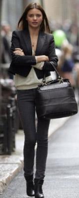 Miranda Kerr wearing a tuxedo jacket