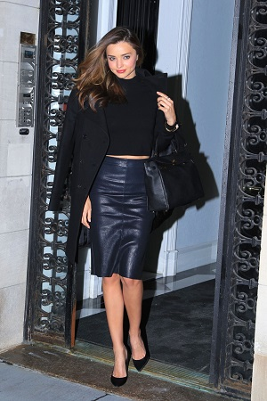 Miranda Kerr leather pencil skirt