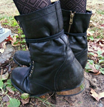 Mirror heeled combat boots at skidmore