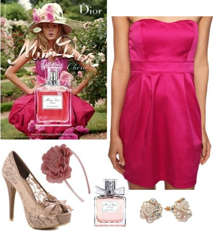 Outfit inspired by Miss Dior Cherie: Pink dress, lace pumps, floral headband, earrings