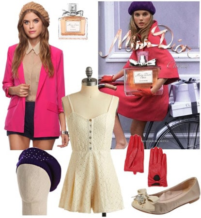 Outfit inspired by Miss Dior Cherie: Beige dress, hot pink blazer, navy beret, ballet flats