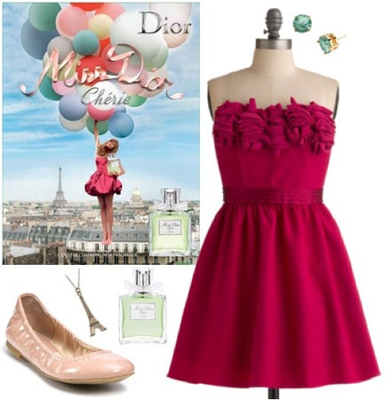 Outfit inspired by Miss Dior Cherie: Hot pink dress, beige flats, earrings, eiffel tower necklace