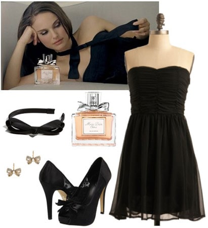 Outfit inspired by Miss Dior Cherie: Black dress, bow pumps, bow headband, bow earrings