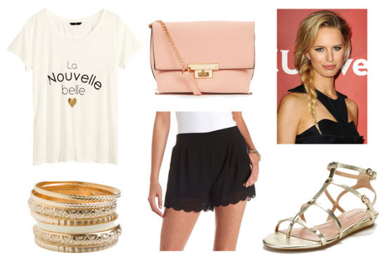 Miss dior graphic tee scalloped shorts