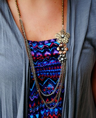 Mixed metal flower necklace whitewater university street style