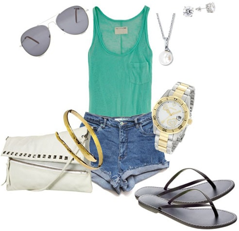 How to wear high waisted shorts and a tank with metallic accessories in gold and silver