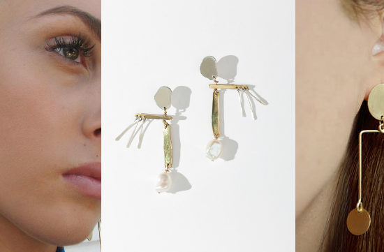 Mobile earring trend (from left to right): whimsical yellow gold earrings with hammered metal discs and pearls from Becca Jewelry, asymmetrical bronze and silver earrings from FARIS, and asymmetrical mix-and-matched gold, bronze, and porcelain earrings from Etsy.