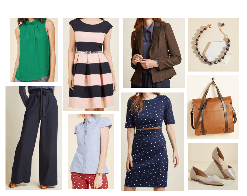 Cute workwear on a budget: Business casual office clothes from Modcloth including green blouse, pink and navy striped dress, brown blazer, polka dot 3/4 sleeve dress, wide leg navy pants, camel tote bag, gold pointed toe dorsay flats