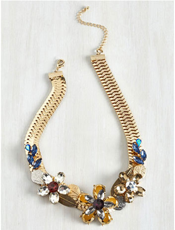 Modcloth floral jewel statement necklace