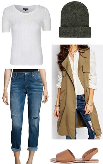 Model off duty outfit: Longline vest, boyfriend jeans, tee shirt, sandals, beanie