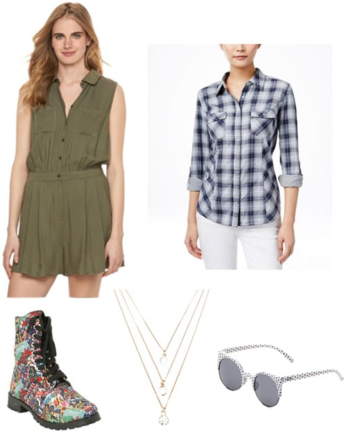 Model off duty outfit: Romper, flannel, ankle boots, necklace and sunglasses