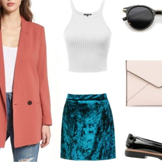 Get Inspired by Santa Fean, Bay Sandoval's look: menswear-inspired boxy muted coral blazer, ribbed form-fitting white tank top, turquoise velvet skirt, vintage horn-rimmed sunglasses, envelope clutch bag, patent leather fringe loafers