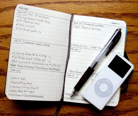 planner, ipod, and pen