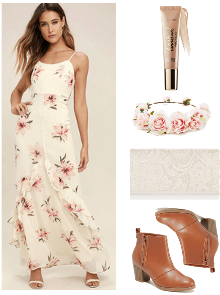 """Fashion Inspired by Music Videos: """"Please Be Mine,"""" by Molly Burch--Outfit #1 featuring long spaghetti-strap cream-colored dress with pink flowers, Tarte Tarteist PRO Glow Liquid Highlighter in """"Exposed,"""" pale pink rose flower crown, ivory lace clutch, cognac brown ankle boots with heel"""
