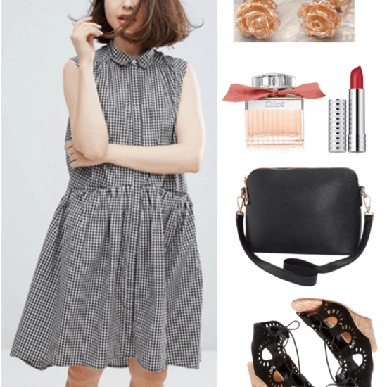 """Fashion Inspired by Music Videos: """"Please Be Mine,"""" by Molly Burch--Outfit #2 featuring sleeveless black-and-white gingham dress, rose gold rose earrings, Chloé Roses de Chloé Eau de Toilette Spray, Clinique Long Last Soft Matte Lipstick in Crimson, black cross-body bag, black lace-up laser-cut cork-wedge sandals"""